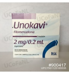 Unokavi - Fitomenadiona 2 mg/0.2 ml Inyectable c/5 ampolletas