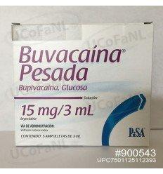 Buvacaina Pesada 15 mg/3 ml Bupavacaina, Glucosa Sol. Inyectable c/5 ampolletas