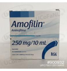 Amofilin - Amofilina 250mg/10ml Ampolleta Inyectable caja c/5 pzas. PISA