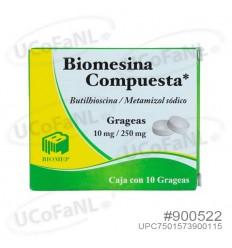 Biomesina Compuesta c/ 10 grageas - Butilhioscina 10mg / Metamizol sódico 250mg