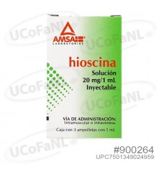Hioscina 20mg/1mL Inyectable IM / IV c/ 3 ampolletas